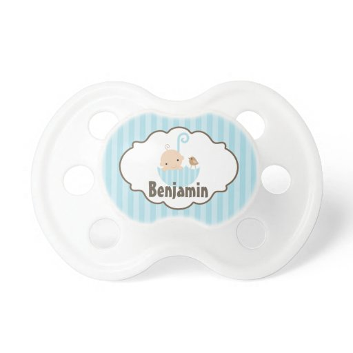 Blue Baby and Bird in Umbrella Pacifier