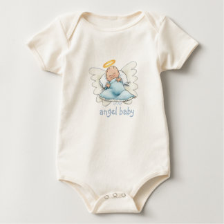 Blue Baby Angel Wings (front and back) Baby Bodysuit