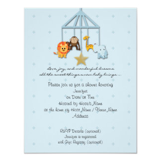 Blue Baby Animal Mobile Baby Shower Invitation