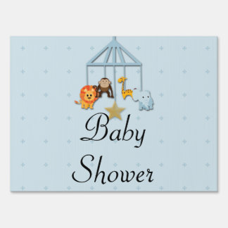 Blue Baby Animal Mobile Baby Shower Yard Sign