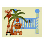 Blue Baby Animals with Baby Crib Wall Decor Poster