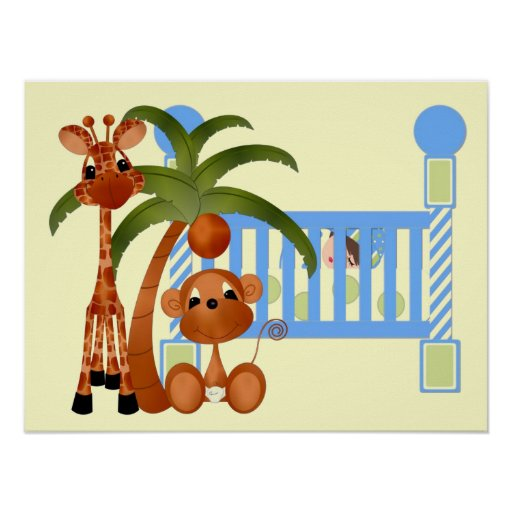 Blue Baby Animals with Crib Wall Decor Poster