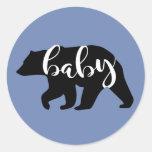 Blue Baby Bear Classic Round Sticker