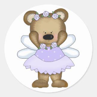 Blue Baby Bear Fairy Classic Round Sticker