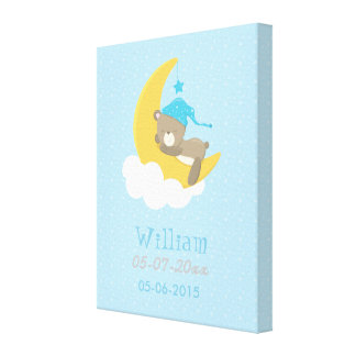 Blue Baby Bear Sleeping On The Moon - baby shower Canvas Print
