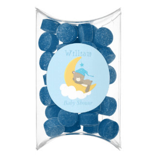 Blue Baby Bear Sleeping On The Moon - baby shower Chewing Gum