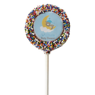 Blue Baby Bear Sleeping On The Moon - baby shower Chocolate Covered Oreo Pop