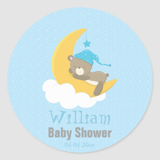 Blue Baby Bear Sleeping On The Moon - baby shower Classic Round Sticker