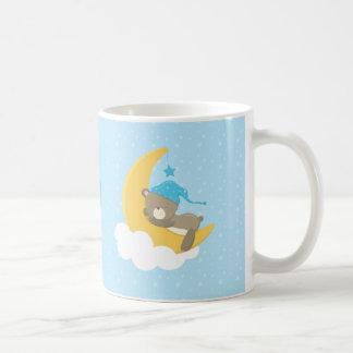 Blue Baby Bear Sleeping On The Moon - baby shower Coffee Mug