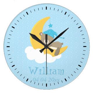 Blue Baby Bear Sleeping On The Moon - baby shower Large Clock