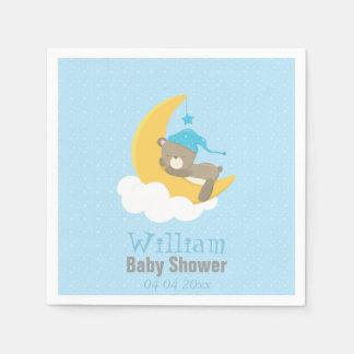 Blue Baby Bear Sleeping On The Moon - baby shower Napkin