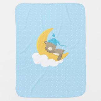 Blue Baby Bear Sleeping On The Moon - baby shower Receiving Blanket
