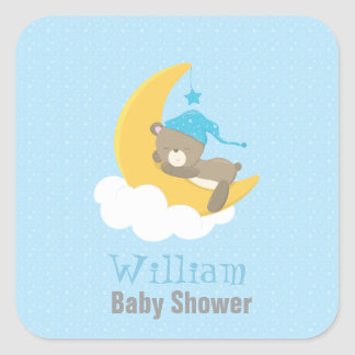 Blue Baby Bear Sleeping On The Moon - baby shower Square Sticker