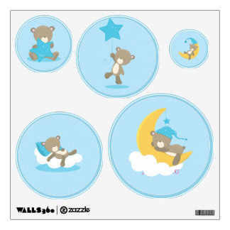 Blue Baby Bear Sleeping On The Moon - baby shower Wall Decal