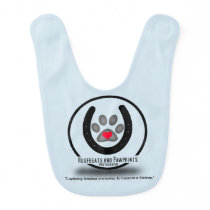 Blue Baby Bib Hoofbeats and Pawprints Logo