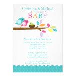 Blue Baby Bird Nest Baby Shower Invitations