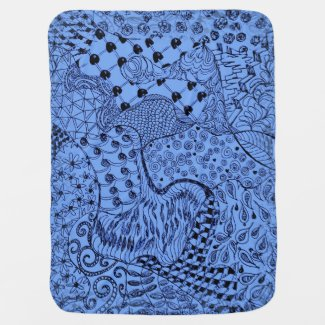Blue Baby Blanket with Hippie Dippie Design
