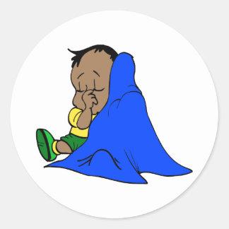 Blue baby blankie classic round sticker
