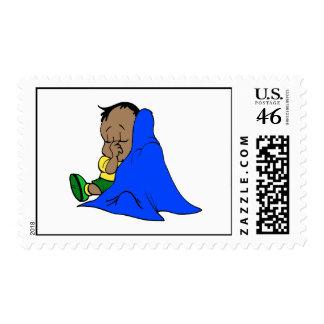 Blue baby blankie postage stamp