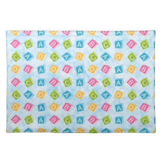 Blue Baby Blocks With Textured Background Cloth Placemat