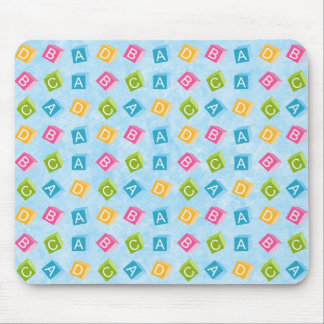 Blue Baby Blocks With Textured Background Mouse Pad