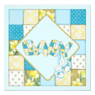 Blue Baby Booties and Patchwork Quilt Baby Shower Card