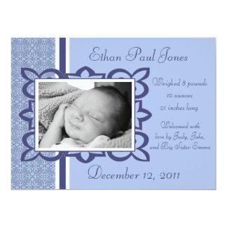 "Blue Baby Boy Birth Announcement 6.5"" X 8.75"" Invitation Card"