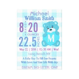Blue baby boy birth stats wall decor art