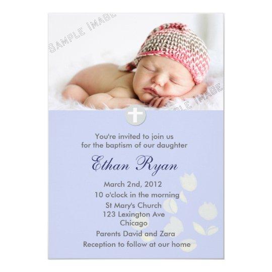 Blue Baby Boy Christening Invitation