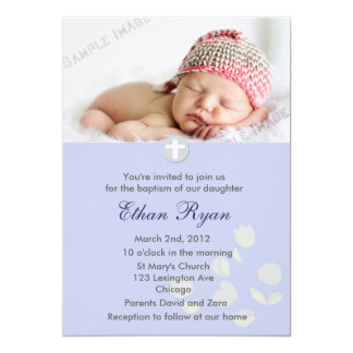 Blue Baby Boy Christening Invitation