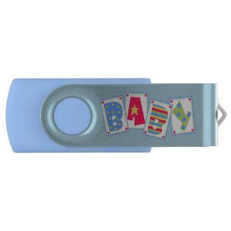 Blue Baby Boy Custom Swivel USB Drive Swivel USB 2.0 Flash Drive