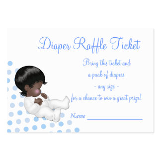 Blue Baby Boy Diaper Raffle Tickets Large Business Cards (Pack Of 100)