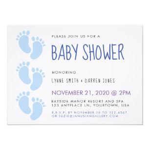 Feet baby boy shower invitations zazzle blue baby boy feet baby shower invitation filmwisefo