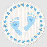 Blue baby boy feet envelope stickers