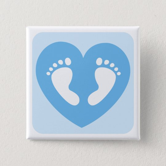 blue baby boy feet or footprints in heart button zazzle com