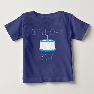Blue Baby Boy First Birthday Shirt