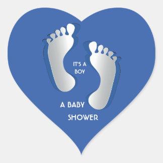 Blue Baby Boy FootPrints Baby Shower Sticker