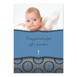 "Blue Baby Boy Photo Christening 5"" X 7"" Invitation Card"