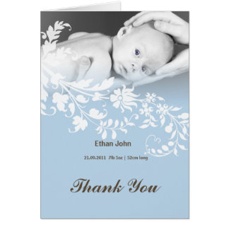 Blue baby boy photo Thank you cards
