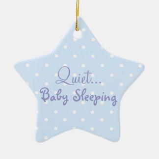 Blue baby boy sleeping door sign Double-Sided star ceramic christmas ornament