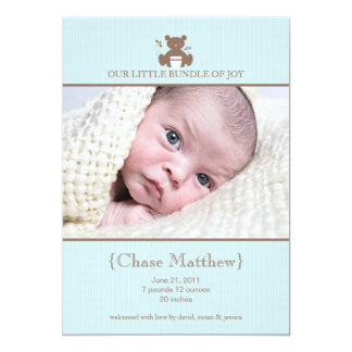 Blue Baby Boy Teddy Bear Photo Announcement