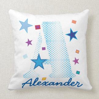 Blue BABY Boy Typography Letter B Custom Name Throw Pillow