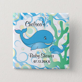 Blue Baby Boy Whale Baby Shower Pinback Button