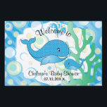 "Blue Baby Boy Whale Baby Shower Yard Sign<br><div class=""desc"">Welcome Yard Sign. Blue Baby Boy Whale Baby Shower Theme. Matching products available. ⭐This Product is 100% Customizable. Graphics and / or text can be added, deleted, moved, resized, changed around, rotated, etc... 99% of my designs in my store are done in layers. This makes it easy for you to...</div>"