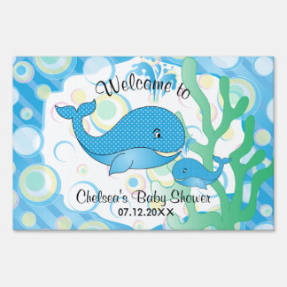 Blue Baby Boy Whale Baby Shower Yard Sign