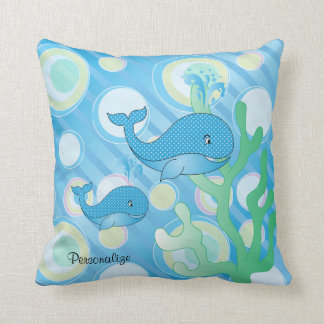 Blue Baby Boy Whale Throw Pillow