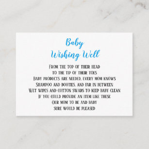 Blue Baby Boy Wishing Well Shower Mini Cards