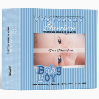 Blue Baby Boy's Custom Photo Scrapbook Binder