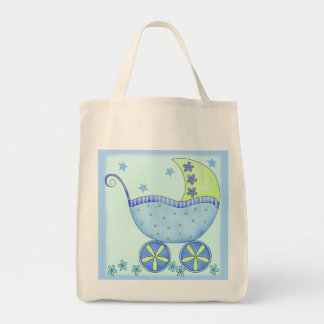 Blue Baby Buggy Boy Gift Diaper Tote Bag