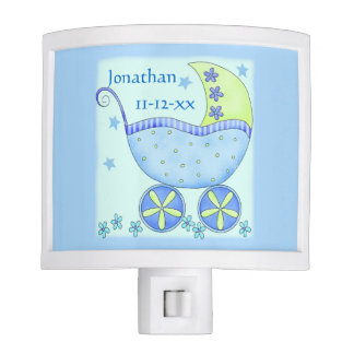 Blue Baby Buggy Boy Name Birth Date Announcement Night Light